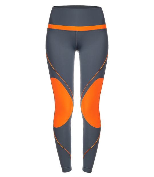 WOMAN LEGGINGS GREY AND ORANGE