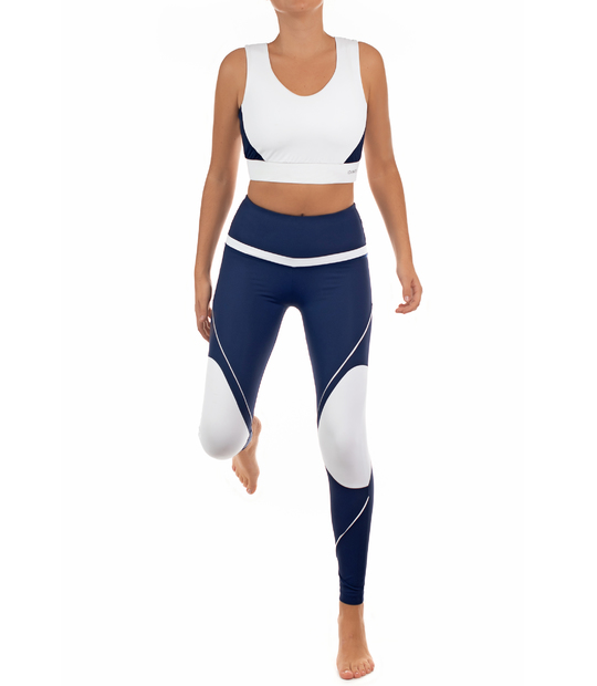 SPORT BRA, WHITE AND NAVY