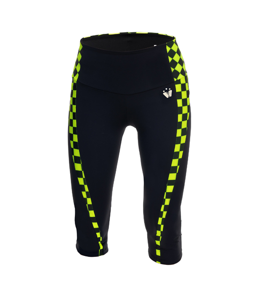 LEGGING 3/4 RUNNING FOR WOMAN IDAWEN BLACK AND NEON