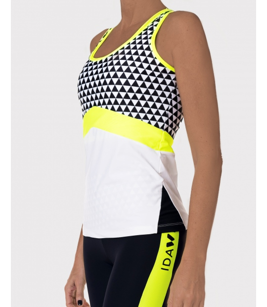 CAMISETA DEPORTIVA MUJER BLANCO Y NEGRO - SPORTS BRAS AND TOPS