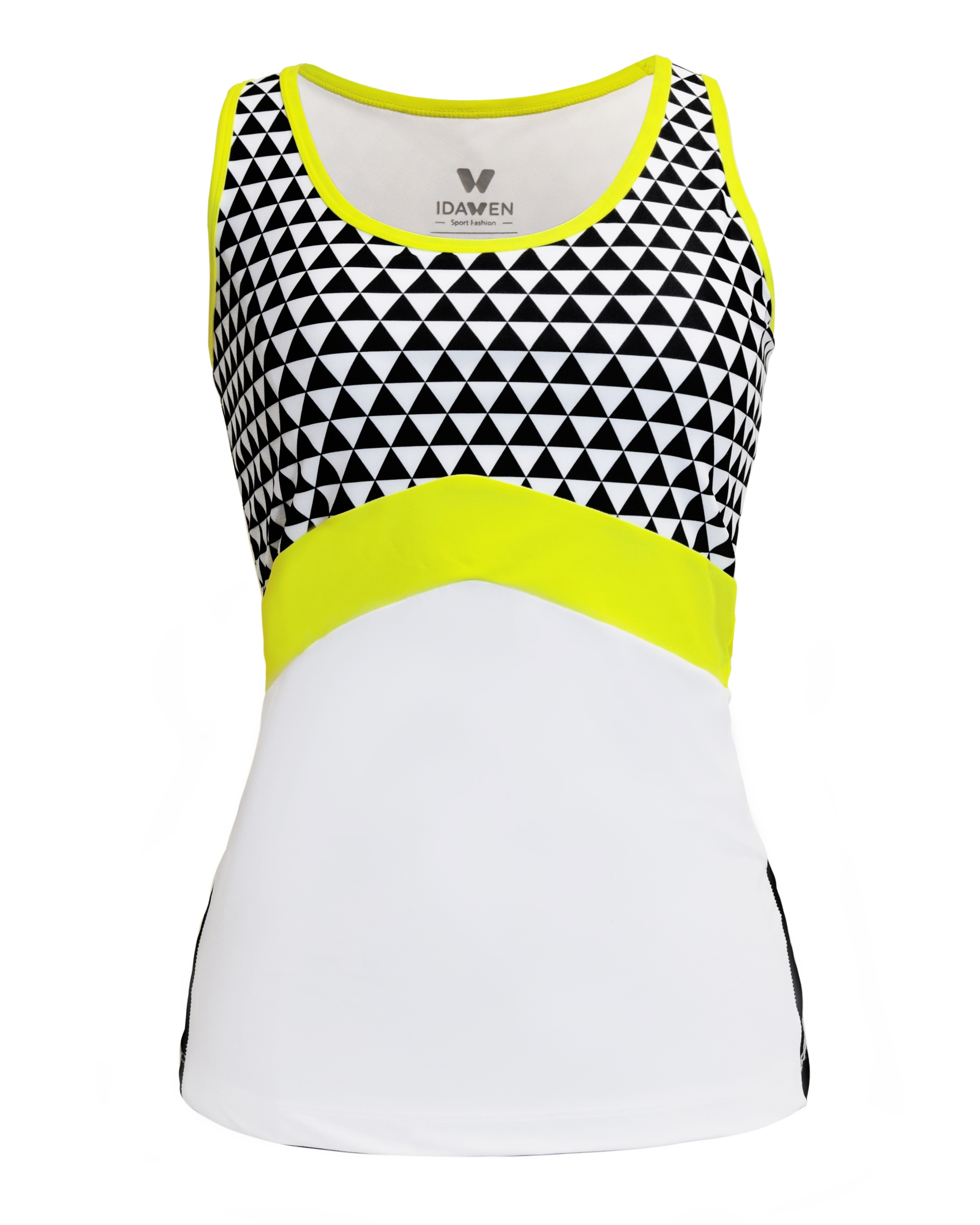 SPORTS TOP WHITE AND BLACK WOMAN SPORTS BRAS AND TOPS CE IDAWEN